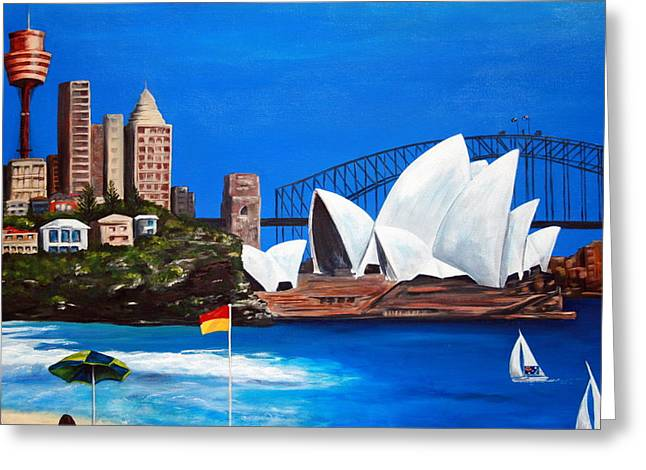 Lyndsey Hatchwell Greeting Cards - Sydneyscape - featuring Opera House Greeting Card by Lyndsey Hatchwell