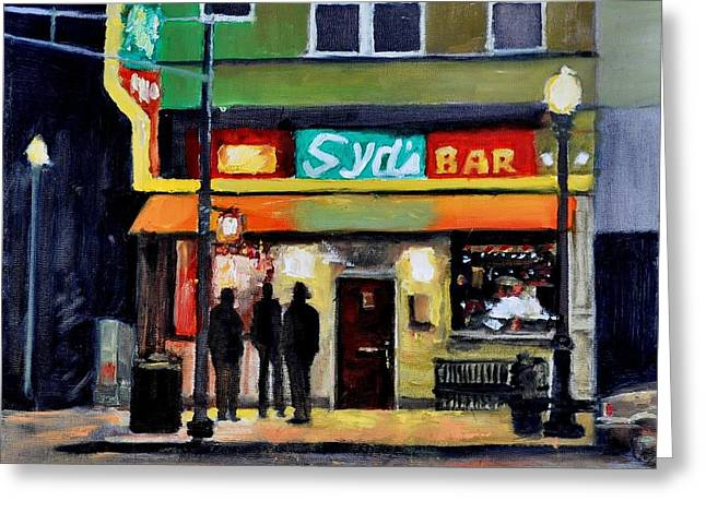 Town Square Greeting Cards - Syds Bar Greeting Card by John  Reynolds
