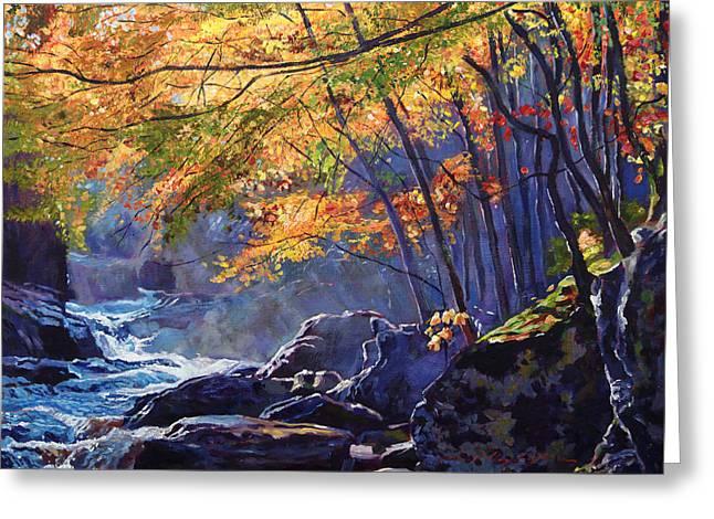Fall Trees Greeting Cards - Sylvan Glade Greeting Card by David Lloyd Glover
