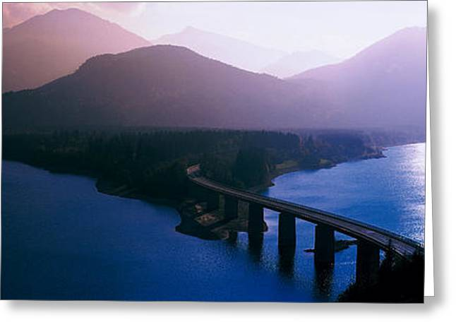 Road Travel Photographs Greeting Cards - Sylvenstein Lake Bavaria Germany Greeting Card by Panoramic Images