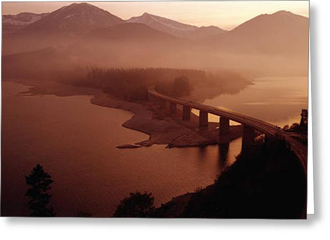 Haze Greeting Cards - Sylvenstein Lake With Bridge Bavaria Greeting Card by Panoramic Images