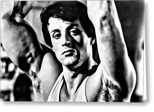 Sly Greeting Cards - Sylvester Stallone Portrait Greeting Card by Florian Rodarte