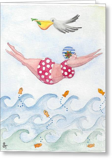 Diving Greeting Cards - Sylvia Diving Greeting Card by Stephanie Troxell