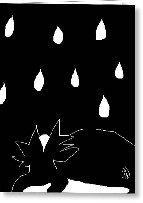 Rescue Drawings Greeting Cards - Sylvia in the Rain Greeting Card by Anita Dale Livaditis
