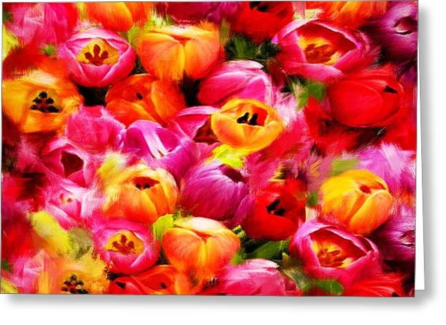 Tulips Greeting Cards - Symbol Of Love Greeting Card by Lourry Legarde