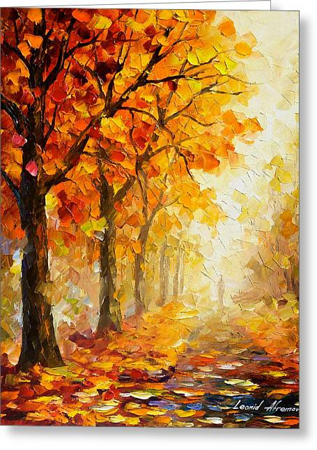 Symbols Of Autumn - Palette Knife Oil Painting On Canvas By Leonid Afremov Greeting Card by Leonid Afremov