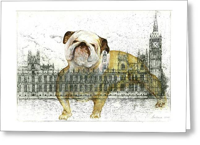 British Bulldog Greeting Cards - Symbols of Strength Greeting Card by Barbara Anna Cichocka