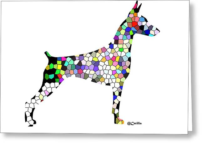 Doberman Pinscher Puppy Greeting Cards - Symetry in Doberman Greeting Card by Maria C Martinez