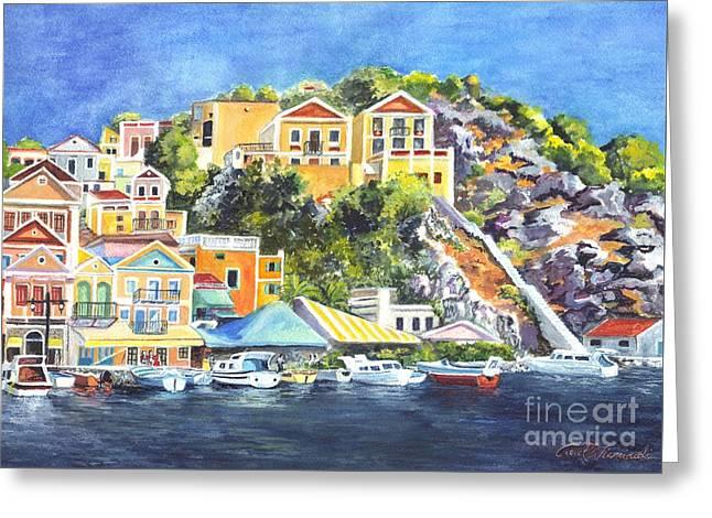 Rocks Drawings Greeting Cards - Symi Harbor The Grecian Isle  Greeting Card by Carol Wisniewski