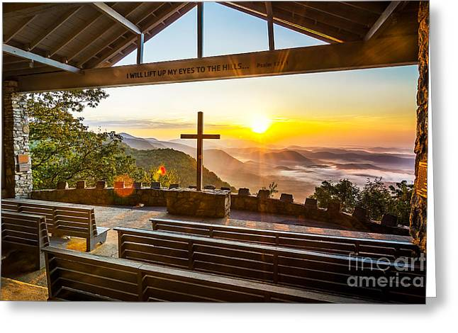 Summer Camps Greeting Cards - Symmes Chapel sunrise  Greeting Card by Anthony Heflin