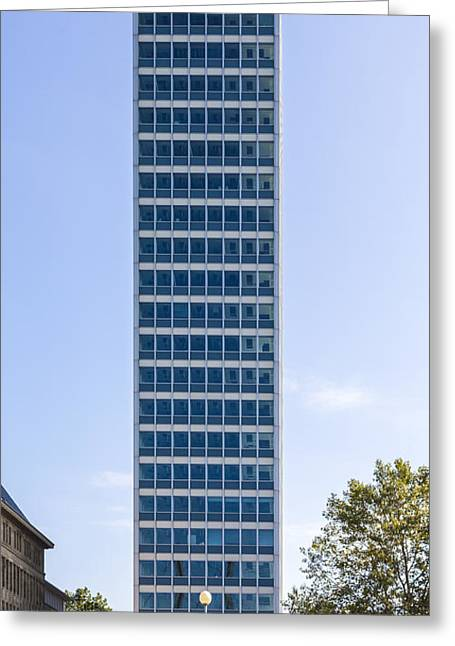 Controlling Development Greeting Cards - Symmetrical Front Shoot Of An Office Building With Blue Sky From Greeting Card by Armin Staudt