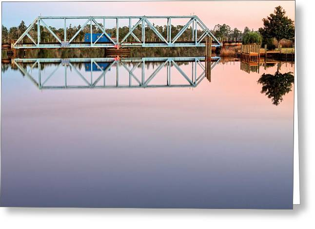 Train On Bridge Greeting Cards - Symmetry on the Black Water River Greeting Card by JC Findley