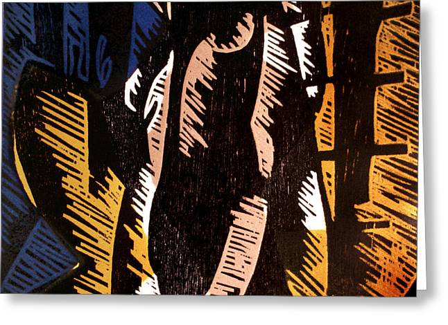 Linocut Paintings Greeting Cards - Sympathetic Magic 2 Greeting Card by Philip Slagter