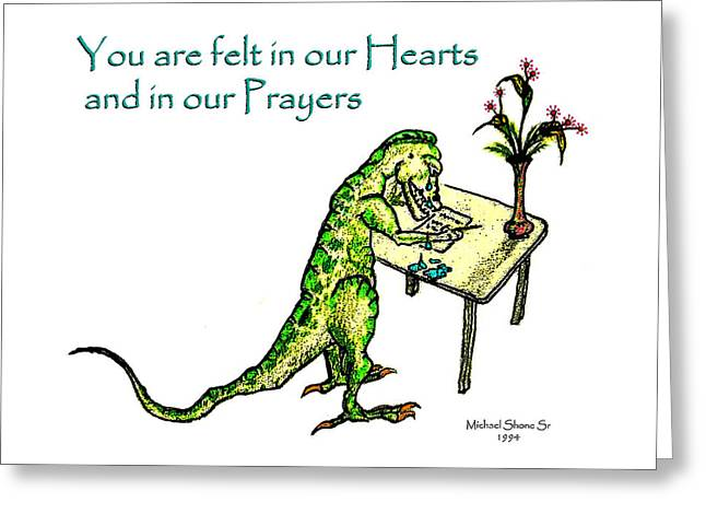 Wife Greeting Cards - Sympathy Dinosaur Heart Felt Greeting Card by Michael Shone SR