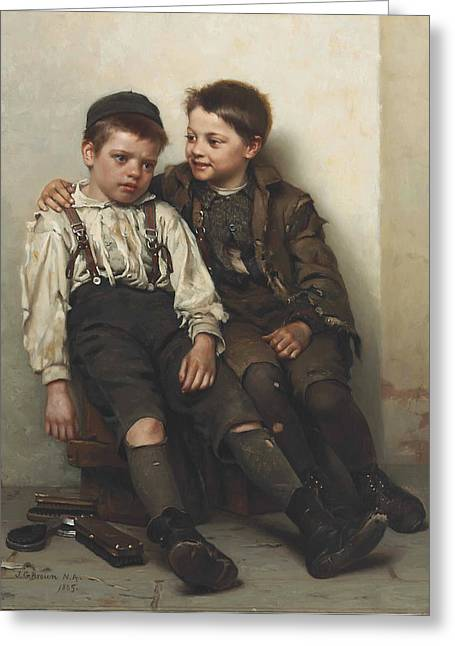 Sympathy Paintings Greeting Cards - Sympathy Greeting Card by John George Brown