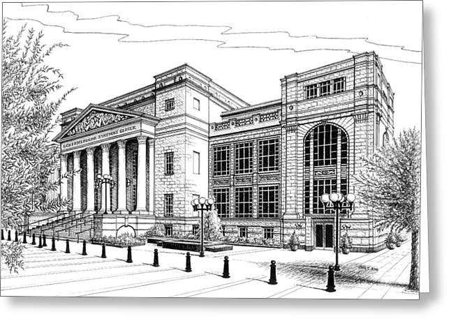 Pen And Ink Drawings For Sale Drawings Greeting Cards - Symphony Center in Nashville Tennessee Greeting Card by Janet King