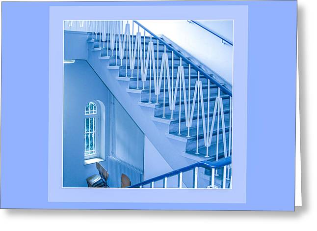 Symphony Of Blue Lines Greeting Card by Mona Stut