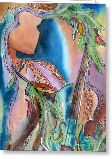 Turquoise Violin Greeting Cards - Symphony of Leaves Greeting Card by Chris Morningforest