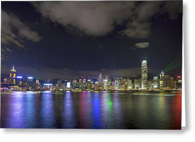 Tsim Photographs Greeting Cards - Symphony of Lights Show in Hong Kong Greeting Card by JPLDesigns