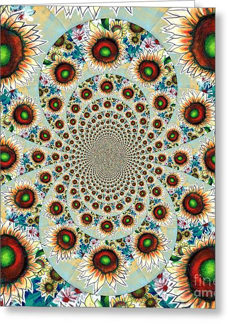Pink Flower Prints Greeting Cards - Symphony Of Sunflowers Kaleidoscope Mandela Greeting Card by Genevieve Esson