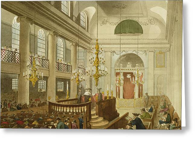 Duke Drawings Greeting Cards - Synagogue at Dukes Place in Houndsditch Greeting Card by Pugin And Rowlandson