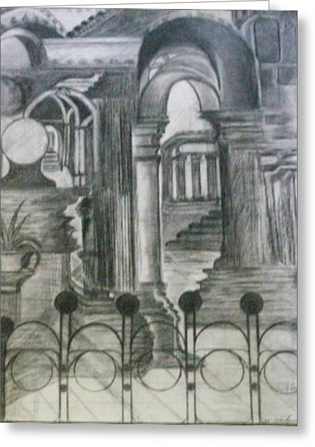 """""""prayer Room"""" Greeting Cards - Synagogue/ Charcoal Pencil Greeting Card by Mary h spencer hollis Driskell"""