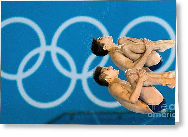 Synchronous Greeting Cards - Synchronised Diving At London Olympics Greeting Card by Ria Novosti