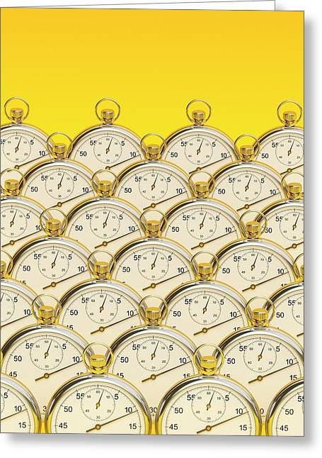 Synchronised Stopwatches Greeting Card by David Parker