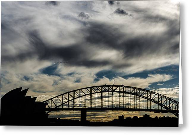 Syndey Greeting Cards - Syndey Bridge and Opera Silhouette Greeting Card by Andre Distel