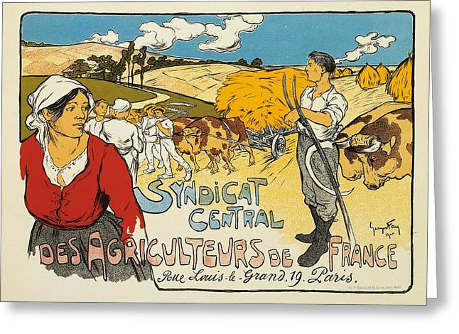 Farmer Drawings Greeting Cards - Syndicat Central des Agriculteurs de France Greeting Card by George Fay