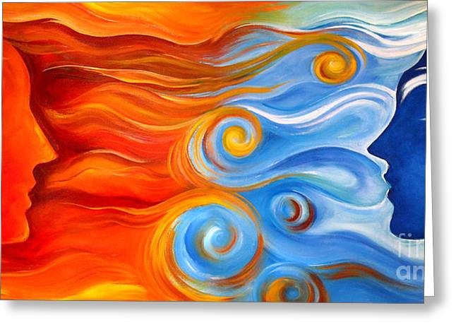 Opposition Paintings Greeting Cards - Synergy Greeting Card by Gem J Shimada