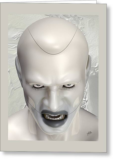 Cute Mixed Media Greeting Cards - White Terminator Greeting Card by Quim Abella