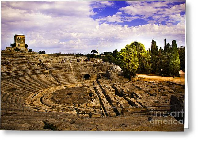 Ancient Ruins Greeting Cards - Syracuse Ampitheatre  II - Sicily Greeting Card by Madeline Ellis