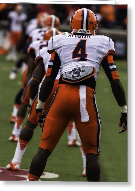 Syracuse Orange Greeting Cards - Syracuse Football kickoff Greeting Card by Tom Climes