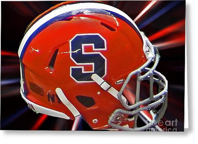 Syracuse Orange Greeting Cards - Syracuse Helmet Greeting Card by Tom Gari Gallery-Three-Photography