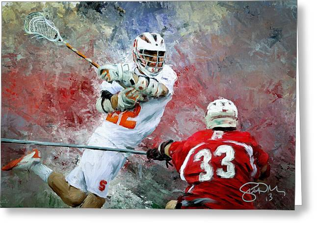 Scott Melby Greeting Cards - College Lacrosse 5 Greeting Card by Scott Melby