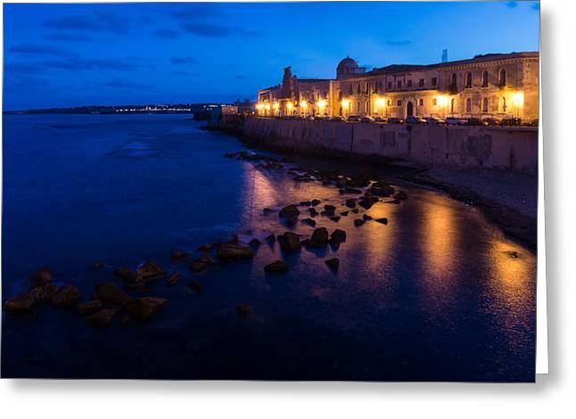 Night Lamp Greeting Cards - Syracuse Sicily Blue Hour - Ortygia Evening Mood Greeting Card by Georgia Mizuleva