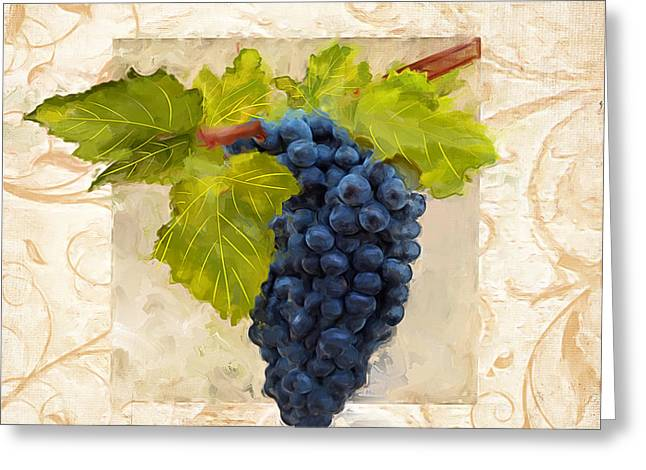 Pinot Paintings Greeting Cards - Syrah II Greeting Card by Lourry Legarde