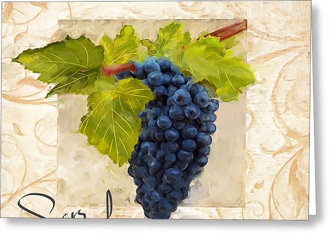 Purple Grapes Paintings Greeting Cards - Syrah Greeting Card by Lourry Legarde