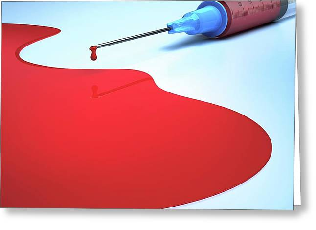 Syringe And Blood Greeting Card by Ktsdesign