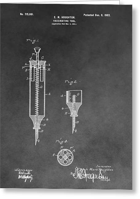 Vaccination Greeting Cards - Syringe Patent Greeting Card by Dan Sproul
