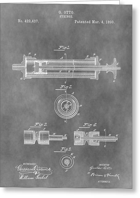 Vaccination Greeting Cards - Syringe Patent Design Greeting Card by Dan Sproul