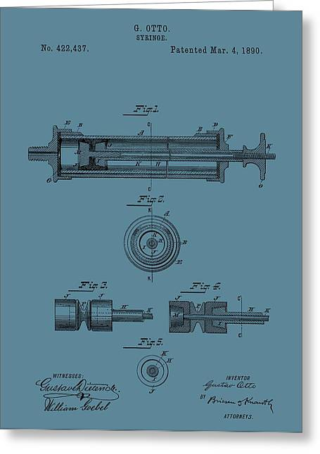 Vaccination Greeting Cards - Syringe Patent Drawing Blue Greeting Card by Dan Sproul