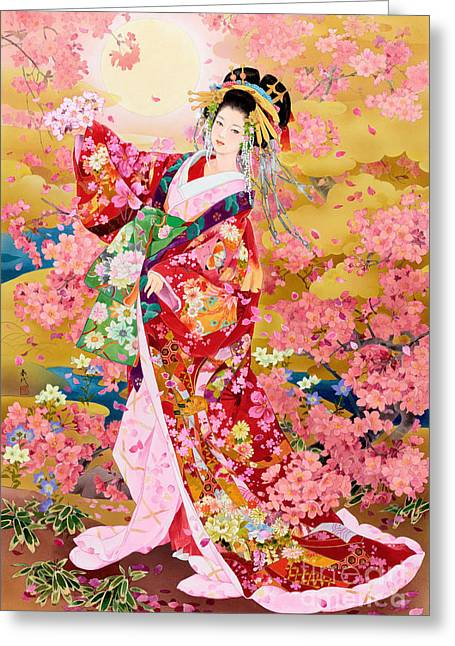 Cherry Blossoms Paintings Greeting Cards - Syungetsu Greeting Card by MGL Meiklejohn Graphics Licensing