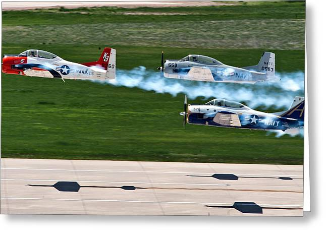 U.s. Marine Corps Greeting Cards - T-28 Demonstration Team Greeting Card by Mountain Dreams
