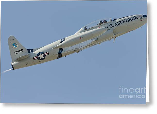 Jet Star Greeting Cards - T-33 Shooting Star Flying Greeting Card by Phil Wallick