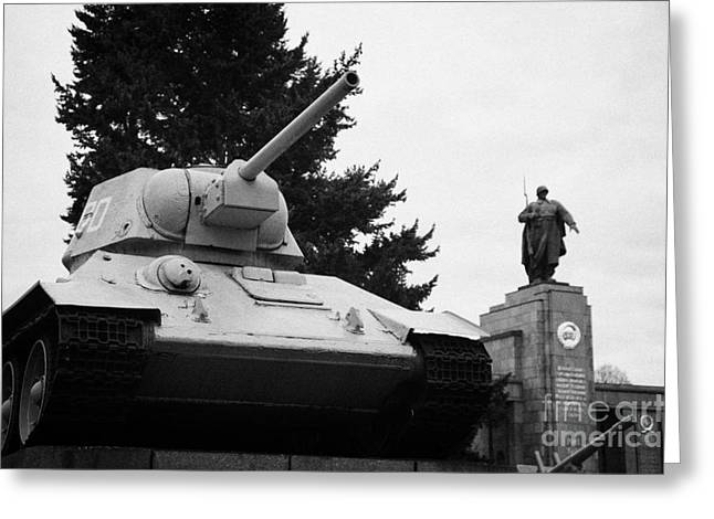 Berlin Germany Greeting Cards - T-34 tank at the soviet war memorial tiergarten Berlin Germany Greeting Card by Joe Fox