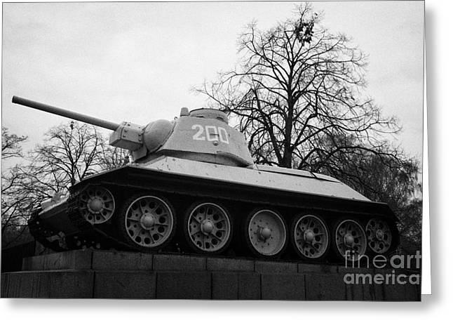 Berlin Germany Greeting Cards - T-34 tank on plinth at the soviet war memorial tiergarten Berlin Germany Greeting Card by Joe Fox