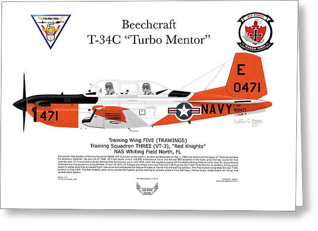 Squadron Graphics Greeting Cards - T-34C Turbo Mentor Greeting Card by Arthur Eggers