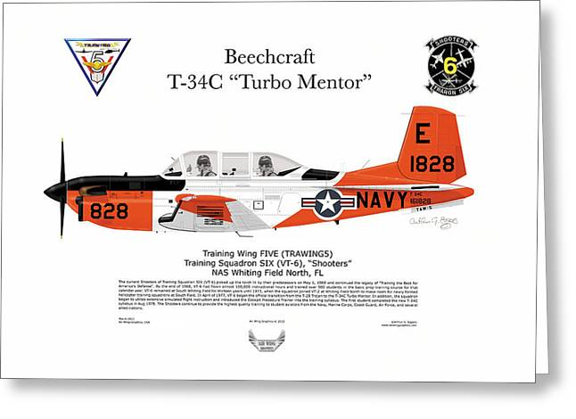 Deployment Prints Greeting Cards - T-34C Turbo Mentor VT-6 Greeting Card by Arthur Eggers